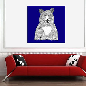 Blue Bear Art Print - Home Decor Nursery & Kids Room Art - Square Giclee Archival Print - Grizzly Bear