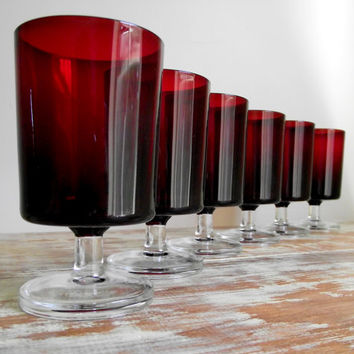Ruby Wine Glasses Luminarc Cavalier Arcoroc France Red Glassware Set of 6