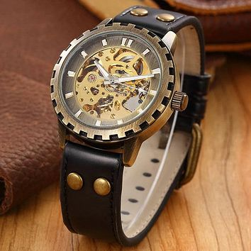 Leather band men male military clock automatic Skeleton mechanical Watch self wind Vintage luxury quality gift Steampunk