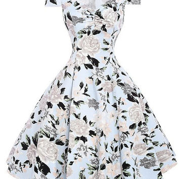 Floral Print Dress 2017 Ladies Summer Style 50s Vintage Sundress Women Ball Gown Robe Femme Sexy Casual Party dresses Vestidos