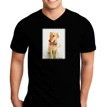 Golden Retriever Watercolor Adult Dark V-Neck T-Shirt
