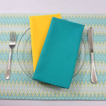 Teal & Yellow Chevron Placemats, Optional Matching Napkins and Table Runner, Spring Table Linens, New Home, Bridal Shower Gift, Set of 2