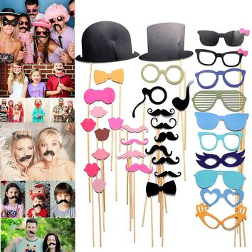 36PCS Photobooth Props Mustache Happy Birthday Party Decorations Kids Bachelorette Party Decoration DIY Face Funny Masks