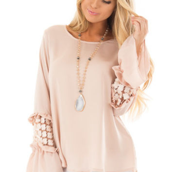 Blush Top with Sheer Lace Back and Open Sides with Ties