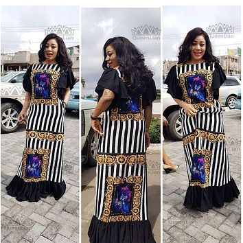 (Free Shipping)  New Fashion Bazin Print Dashiki Yamadou Elastic Sleeve Loose Style Traditional African Dress For Women(CPTW02)