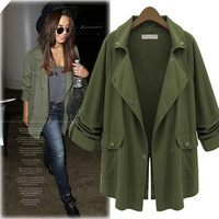 Army Green Lapel Coat With Pocket