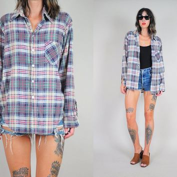 80's Faded Plaid grunge Flannel