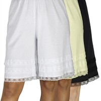 Cotton Knit Snip-A-Length Pettipants Culotte Slip Bloomers Split Skirt 3-Pack - Underworks