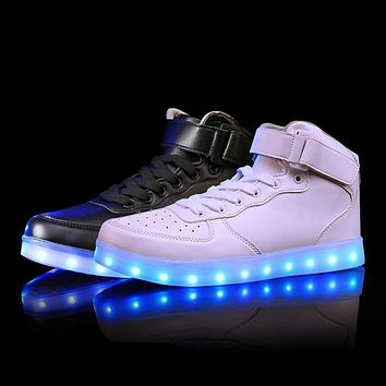 Lights up led luminous shoes high top