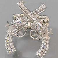 Fashion Double Pistol Stretch Ring AB Rhinestones