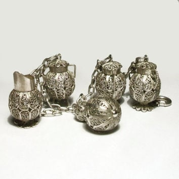 Vintage Charm Bracelet Sterling Silver Filigree 1960s Jugs Pots Urns Vases Ornate Heavy Unusual