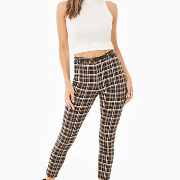 Belted Plaid Cropped Pants