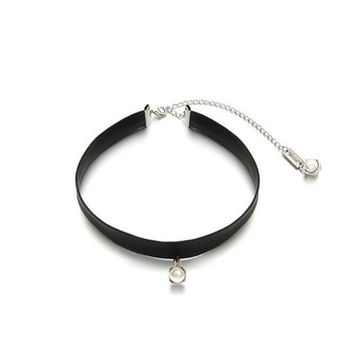 Black PU Leather Imitation Pearl Gothic Tattoo Choker Necklace Sailor Moon Cosplay Jewelry Women Accessories