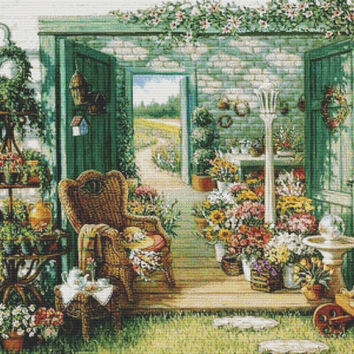The Blossom Shoppe - Counted cross stitch pattern in PDF format
