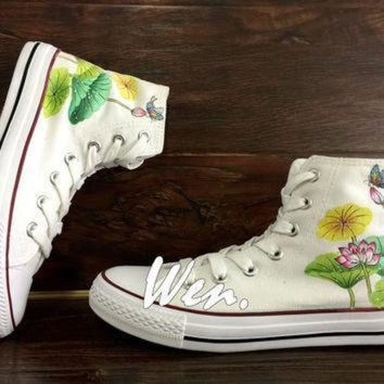DCCK1IN wen original design summer lotus shoes lotus converse hand painted shoes custom conver