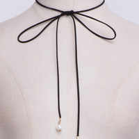 Black Faux Pearl Embellished Wrap Around Choker Necklace