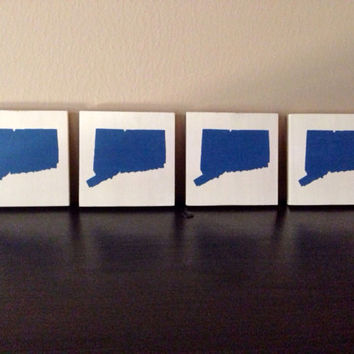 Pick colors, Connecticut Wood Coasters, Custom Connecticut Coasters, Set of 4, Stained Hand Painted, Connecticut decor