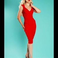 Erin Wiggle Dress in Red Stretch Bengaline from Pinup Couture - Dresses - Clothing | Pinup Girl Clothing