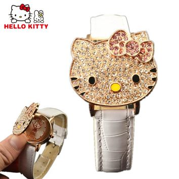 Hello Kitty Watch Girls Crystal Clamshell Dial Children's Cartoon Watches