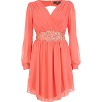 Coral Little Mistress embellished wrap dress - branded dresses - dresses - women