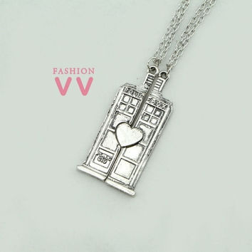 VVA0020 Doctor Who TARDIS Phone Booth necklace  Double Heart Couples Necklace for lovers,2pcs/lot Lover necklace = 1930293508