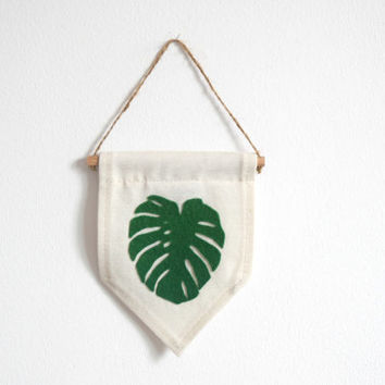 Monstera Leaf - MINI Wall Banner (customizable!) Natural Canvas fabric, woolen felt
