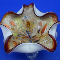 "Murano glass bowl #1 -  1950s bimorphic bowl in cased glass with aventurine and tutti frutti.superb Italian glass bowl  Large (9.5"" / 24cm)"