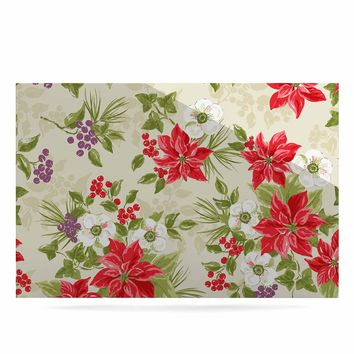 "Jacqueline Milton ""Poinsettia Posy"" Red Green Holiday Floral Painting Watercolor Luxe Rectangle Panel"