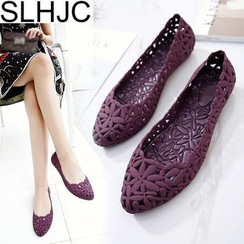 SLHJC 2017 Summer Flats Cool Sandals Flat Heel Pointed Toe Cutout Jelly Shoes Durable Wear Sandals Beach Travel Shopping Shoes