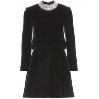 saint laurent - velvet dress with embellished collar