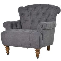 NEW! Buttoned Charcoal Deep Chair