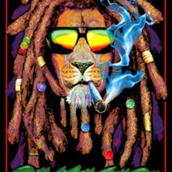 Rastafarian Lion - Black Light Poster