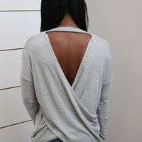H. Gray Long Sleeve Top W/ Low Back