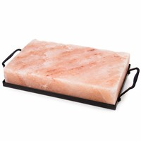 "Zenware 10"" x 6"" x 2"" Natural Himalayan Block Cooking Salt Plate & Holder Set - Black"