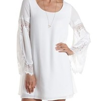 White Lace Bell Sleeve Shift Dress by Charlotte Russe
