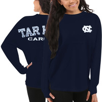 North Carolina Tar Heels Women's Aztec Sweeper Long Sleeve Top – Navy Blue