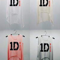 1D ONE DIRECTION Pink T Shirts Tank Top Tunic Blouse high waist women handmade silk screen printing