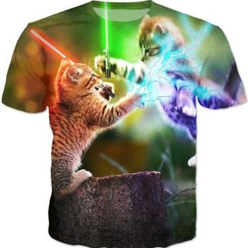 cats fighting with lightsaber T-Shirt Space Kitten Tees Unisex With Glasses Pizza Cat t shirt Outfits Hipster Oversize Girl Tops
