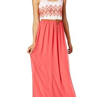 Pink Chevron Crochet Maxi Dress