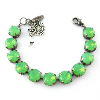 Mint Green Opal Bracelet, 11mm Crystal Chatons, Chunky Large Crystals, Charm Bracelet, PICK YOUR FINISH, Siggy Jewelry