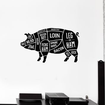 Vinyl Wall Decal Pork Cut of Meat Guide Butcher Shop Stickers Mural (ig5251)