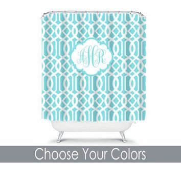Trellis Aqua SHOWER CURTAIN Custom MONOGRAM Personalized Bathroom Decor Pattern Bathroom Bath Towel,  Bath Mat