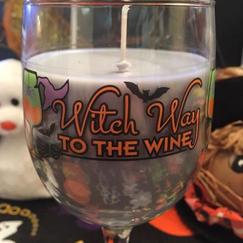 "*Clearance"" Halloween Wine Glass Candle"