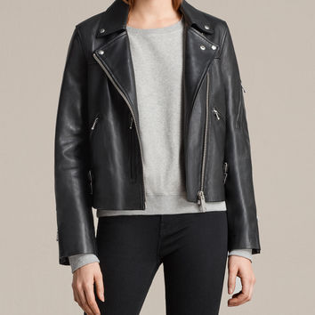 ALLSAINTS UK: Womens Prescott Biker Jacket (Black)
