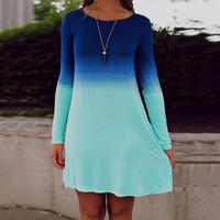 Beautiful Gradient Long T-Shirt Long Sleeve Maternity Mini Dress