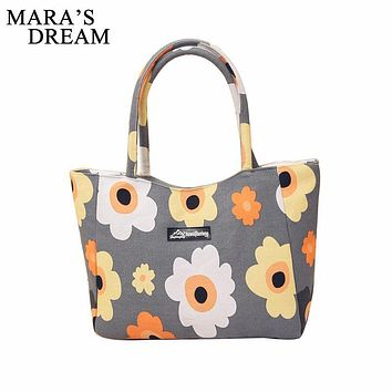 Mara's Dream Ladies Single Shoulder Beach Bags Waterproof Canvas Zipper Foldable Floral Printed Stirp Shopping Bag Tote Women