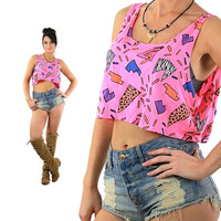 Graphic tank top Vintage 90s Hot pink cropped shirt sleeveless slouchy mod retro neon new wave blouse Medium
