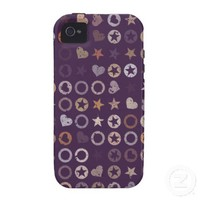 Circles, Stars And Hearts On Acai Violet. Vintage Case-Mate iPhone 4 Covers