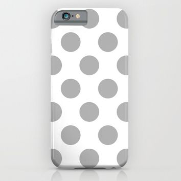 Silver Polka Dots iPhone & iPod Case by New Wave Studio