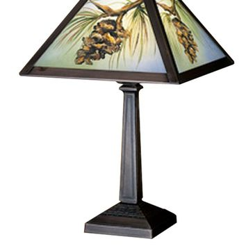 "16""H Northwoods Pinecone Hand Painted Accent Lamp"